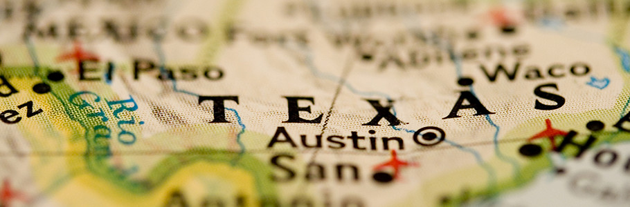 map of Texas showing Austin